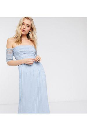 Little Mistress Pleat lace midaxi dress in blue