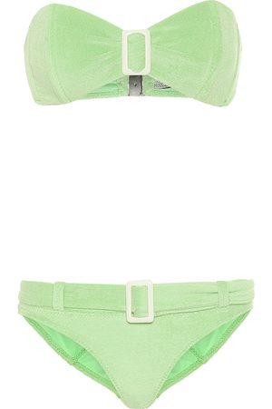 Lisa Marie Fernandez Buckle bandeau terrycloth bikini