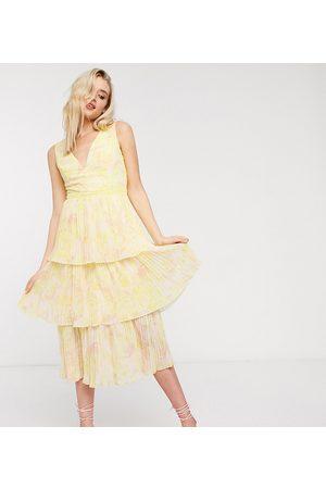 Little Mistress Tiered midi dress in lemon floral-Yellow
