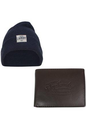 Tokyo Laundry Heren giftbox portemonnee en muts cobain navy bruin