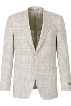 CANALI Linen and Wool Checked Blazer