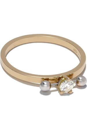 Delfina Delettrez 18kt yellow and white gold Two-in-One bar piercing diamond ring
