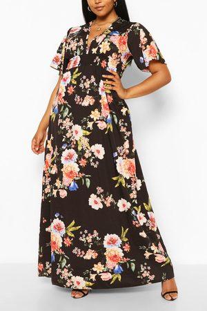 Boohoo Plus Dark Floral Ruffle V-Neck Maxi Dress