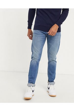Lee Jeans Luke slim tapered jeans in light blue wash-Navy