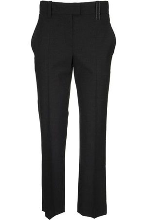 Brunello Cucinelli Tropical luxury wool high-waist cigarette trousers with shiny loop