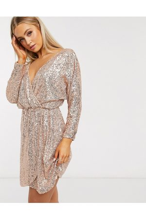 Club L Sequin plunge neck long sleeve mini dress in rose gold