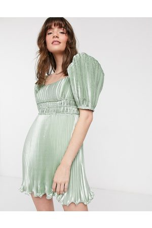 & OTHER STORIES Bow-back metallic mini dress in sage-Green