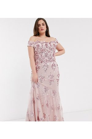 Goddiva Off shoulder embellished sequin dress in rose pink