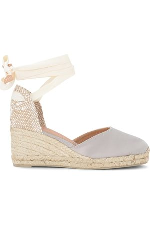 Castaner Carina wedge sandal in gray and dove gray canvas and jute