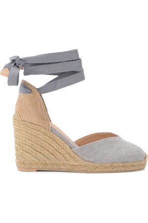 Castaner Chiara wedge sandal in gray canvas and fabric