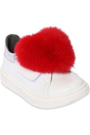 MONNALISA Leather Sneakers W/ Fur Appliqué