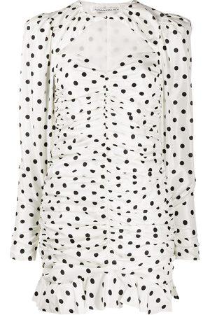 Alessandra Rich Ruched polka dot mini dress