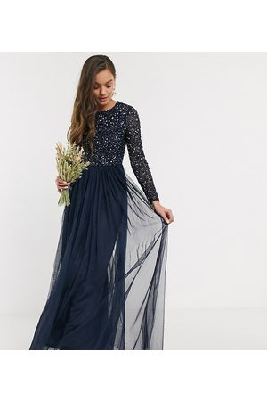 Maya Bridesmaid long sleeve maxi tulle dress with tonal delicate sequins in navy