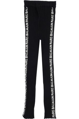Balmain Logo Side Bands Viscose Blend Leggings