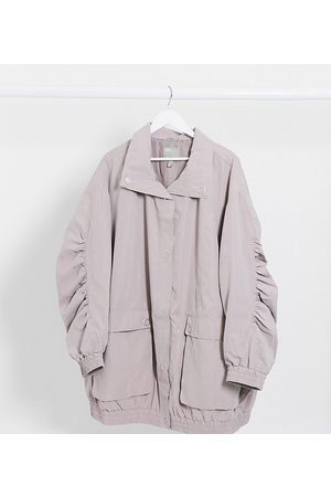 ASOS ASOS DESIGN Curve oversized parka with extreme sleeves in lilac-Purple