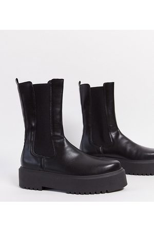 ASOS Wide Fit Alana chunky chelsea boots in black