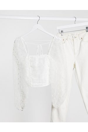 Topshop Corset with organza sleeve in white