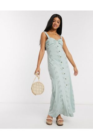 ASOS Broderie strappy button through maxi dress in mint-Orange