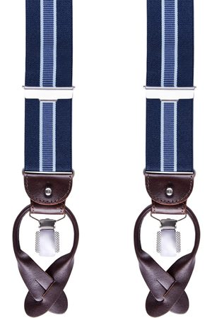 Profuomo Navy gestreepte bretels heren