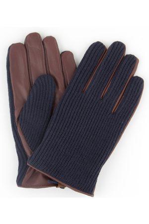 Profuomo Navy gebreide en cognac leren handschoenen heren