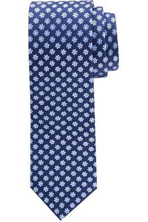 Profuomo Blauwe klassieke gebloemde zijden stropdas heren