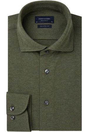 Profuomo Legergroen mélange knitted overhemd Originale heren