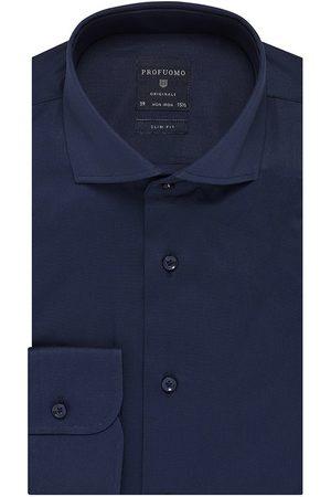Profuomo Heren overhemd navy effen strijkvrij