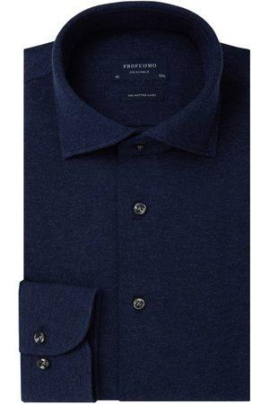 Profuomo Navy mélange knitted overhemd Originale heren