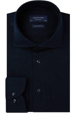 Profuomo Navy single jersey knitted overhemd Originale heren