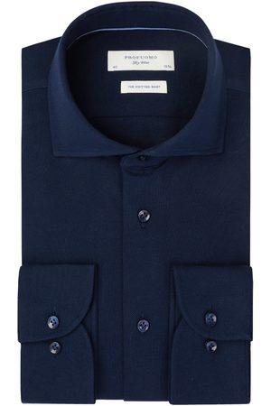 Profuomo Navy mercerised knitted overhemd Sky Blue heren