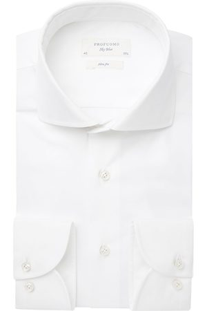 Profuomo Heren overhemd effen white wall