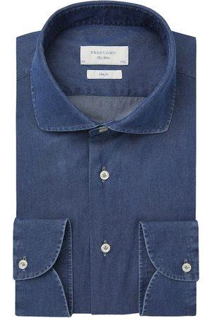 Profuomo Heren overhemd indigo effen italiaanse stof