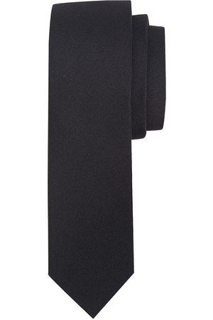 Profuomo Zwarte oxford smalle zijden stropdas heren