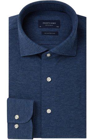 Profuomo Heren Overhemden - Blauw mélange knitted overhemd Originale heren