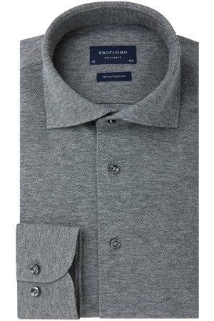 Profuomo Antraciet mélange knitted overhemd Originale heren