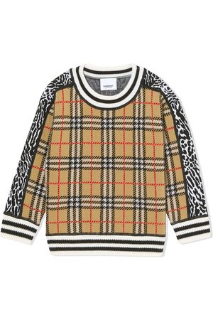 Burberry House Check panelled jumper