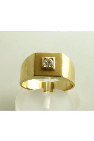 Christian 14 karaat gouden zegelring met zirkonia