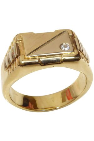 Christian 14 karaat gouden cachet ring met diamant