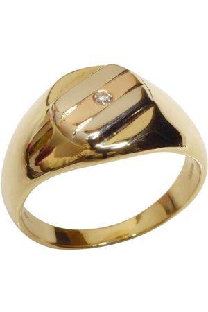 Christian Heren Ringen - Gouden tricolor cachet ring met diamant rosé