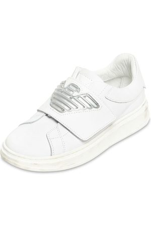 Emporio Armani Jongens Sneakers - Leather Strap Sneakers