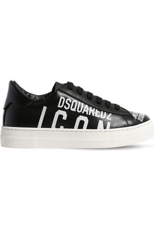 Dsquared2 Icon Print Leather Lace-up Sneakers