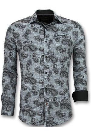TONY BACKER Heren Overhemden - E met print in kraag
