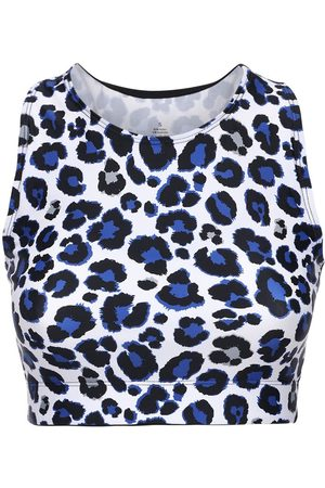 Adam Selman Sport Leo Print Racer Back Crop Top
