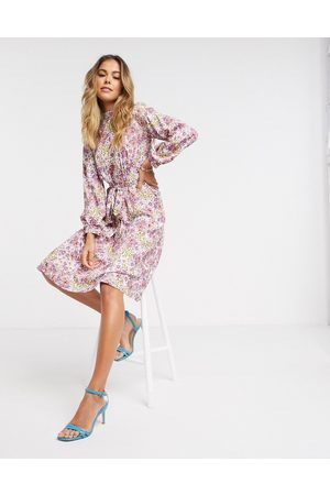 Closet High neck puff sleeve midi dress in ivory floral-Multi
