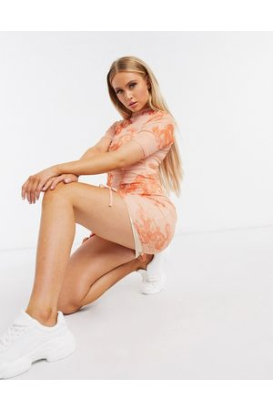 Missguided Mesh mini dress with ruched detail in pink dragon print-Multi