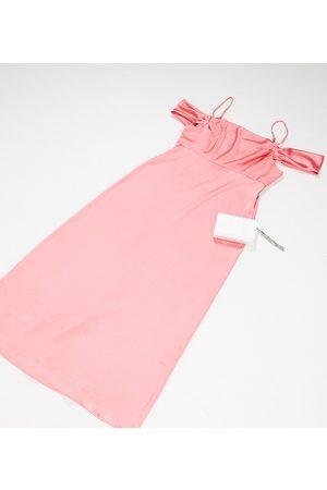 Flounce London Exclusive satin maxi slip dress with drape shoulder in peachy coral-Orange