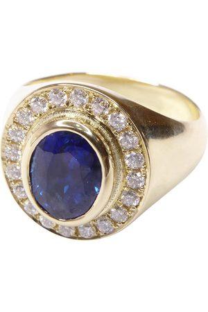 Christian Gouden ring met saffier en diamanten