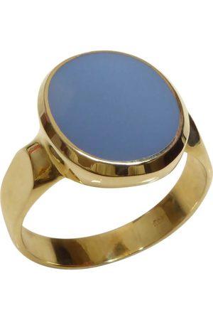 Christian Gouden cachet ring met blauwe lagensteen