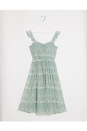 Vila Midi dress with frill shoulder detail in green floral
