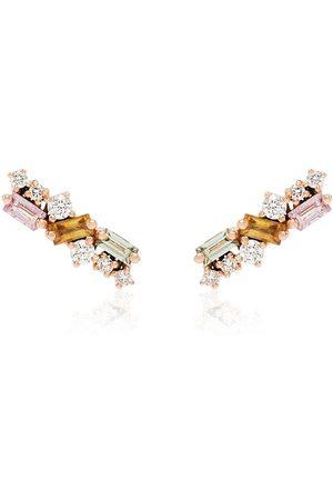 Suzanne Kalan 18kt rose gold diamond sapphire stud earrings